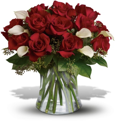 Be Still My Heart - Dozen Red Roses with mini calla