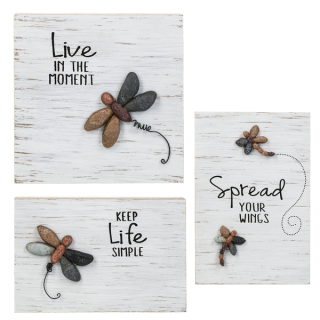 Pebble Art Dragonfly Wall Plaques - $12.00 Each